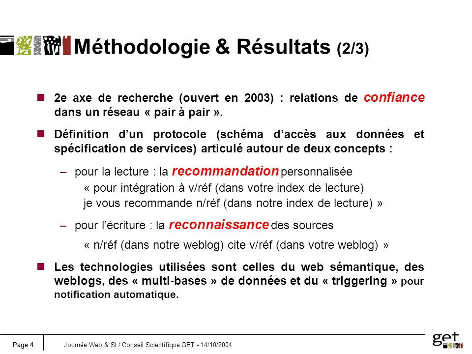 Page 4Journée Web & SI / Conseil Scientifique GET - 14/10/2004 Méthodologie & Résultats (2/3) n2e axe de recherche (ouvert en 2003) : relations de con