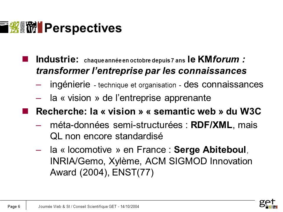 Page 7Journée Web & SI / Conseil Scientifique GET - 14/10/2004 Conclusions nprojet KSCS trop petit et local (ENST) nregrouper les forces KM et « semantic web » de tous les labos du GET –thème interdisciplinaire (Mgt, SI/BD, IHM, IA…) –plusieurs présentations ici-même –deux présentations différentes dans le bulletin de lAFIA (N°54 avril 2003) .