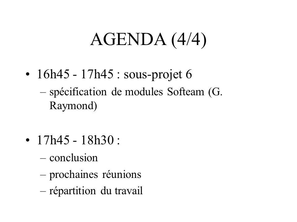 AGENDA (4/4) 16h45 - 17h45 : sous-projet 6 –spécification de modules Softeam (G. Raymond) 17h45 - 18h30 : –conclusion –prochaines réunions –répartitio