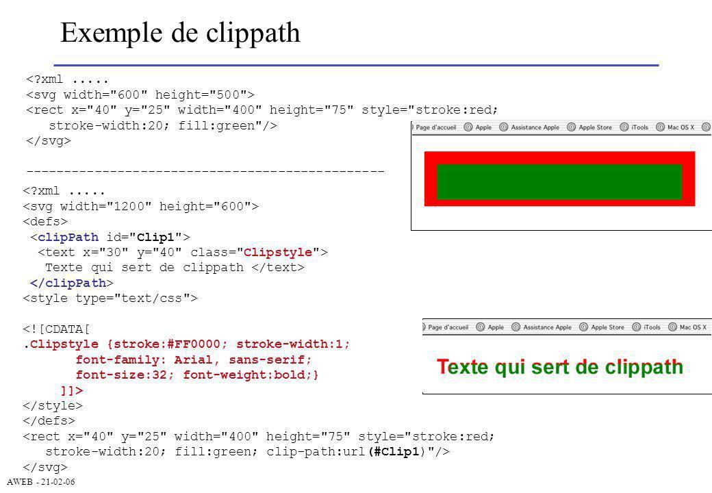 AWEB - 21-02-06 Exemple de clippath <?xml..... <rect x=