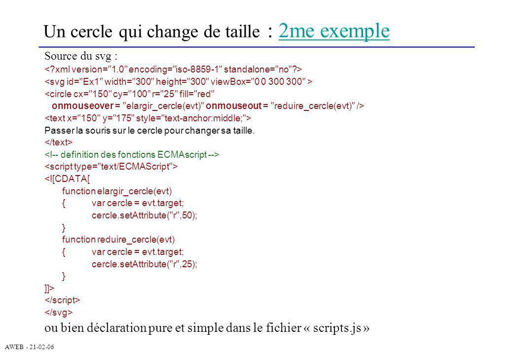 AWEB - 21-02-06 Un cercle qui change de taille : 2me exemple2me exemple Source du svg : <circle cx=
