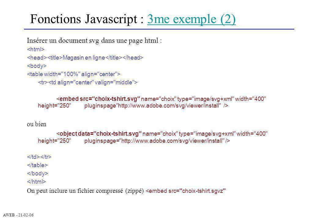 AWEB - 21-02-06 Fonctions Javascript : 3me exemple (2)3me exemple (2) Insérer un document svg dans une page html : Magasin en ligne ou bien On peut in