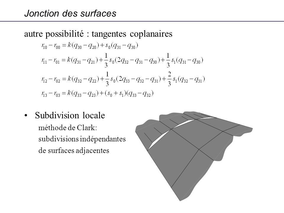 Jonction des surfaces autre possibilité : tangentes coplanaires Subdivision locale méthode de Clark: subdivisions indépendantes de surfaces adjacentes