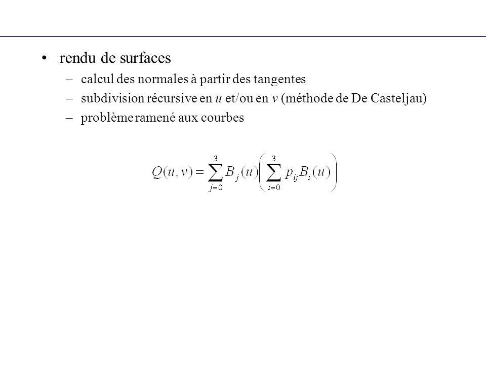 rendu de surfaces –calcul des normales à partir des tangentes –subdivision récursive en u et/ou en v (méthode de De Casteljau) –problème ramené aux co