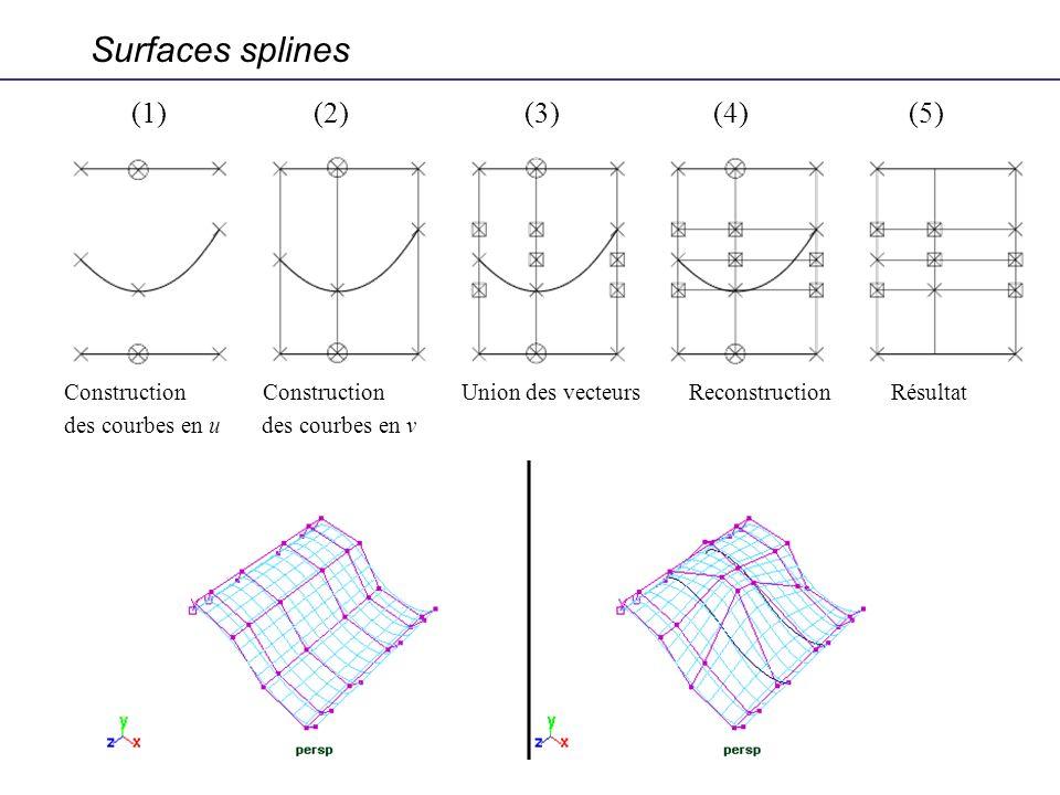 Surfaces splines (1) (2) (3) (4) (5) Construction Construction Union des vecteurs Reconstruction Résultat des courbes en u des courbes en v