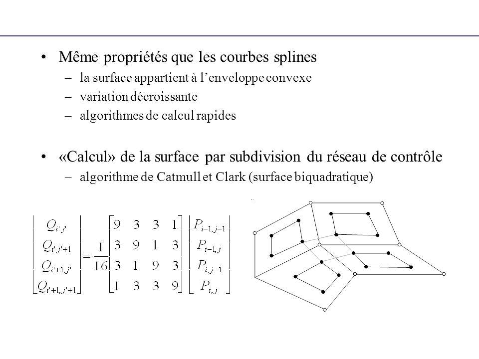 Même propriétés que les courbes splines –la surface appartient à lenveloppe convexe –variation décroissante –algorithmes de calcul rapides «Calcul» de