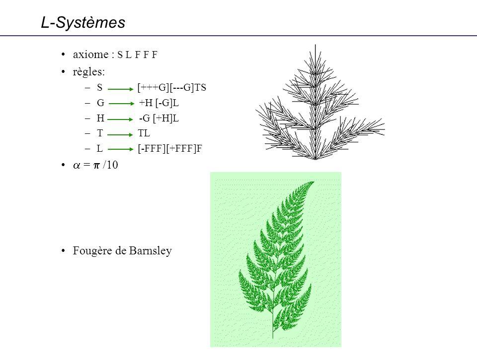 axiome : S L F F F règles: –S [+++G][---G]TS –G +H [-G]L –H -G [+H]L –T TL –L [-FFF][+FFF]F = /10 Fougère de Barnsley L-Systèmes