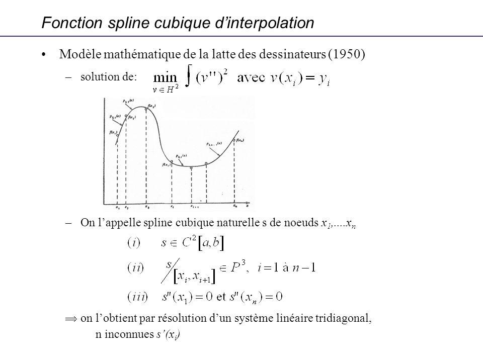 Modèle mathématique de la latte des dessinateurs (1950) –solution de: –On lappelle spline cubique naturelle s de noeuds x 1,....x n on lobtient par ré