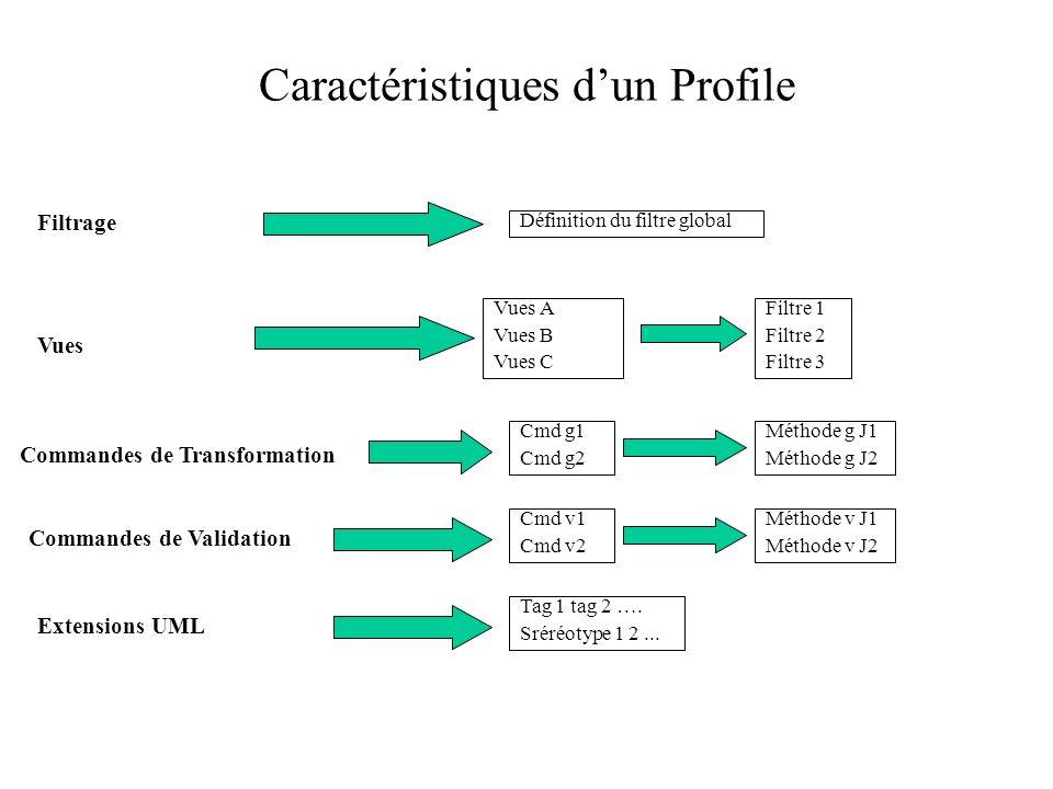 Caractéristiques dun Profile Filtrage Vues Vues A Vues B Vues C Commandes de Validation Définition du filtre global Filtre 1 Filtre 2 Filtre 3 Cmd g1