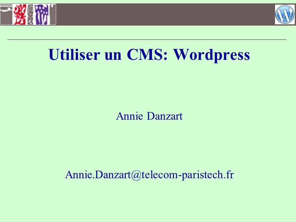 Backoffice: créer un espace réservé aux membres Installation dun pluggin de gestion des droits –http://wordpress.org/extend/plugins/wpnamedusers/http://wordpress.org/extend/plugins/wpnamedusers/ –Ajouter lextension –Gérer les pages avec les droits (utilisateurs, groupes) Installation dun pluggin de connexion –http://www.geekeries.fr/wordpress/page-connexion-enregistrement- utilisateurs-14897http://www.geekeries.fr/wordpress/page-connexion-enregistrement- utilisateurs-14897 –Ajouter lextension –Ajouter un widget pour le formulaire de connexion dans la barre latérale –[wppb-login]