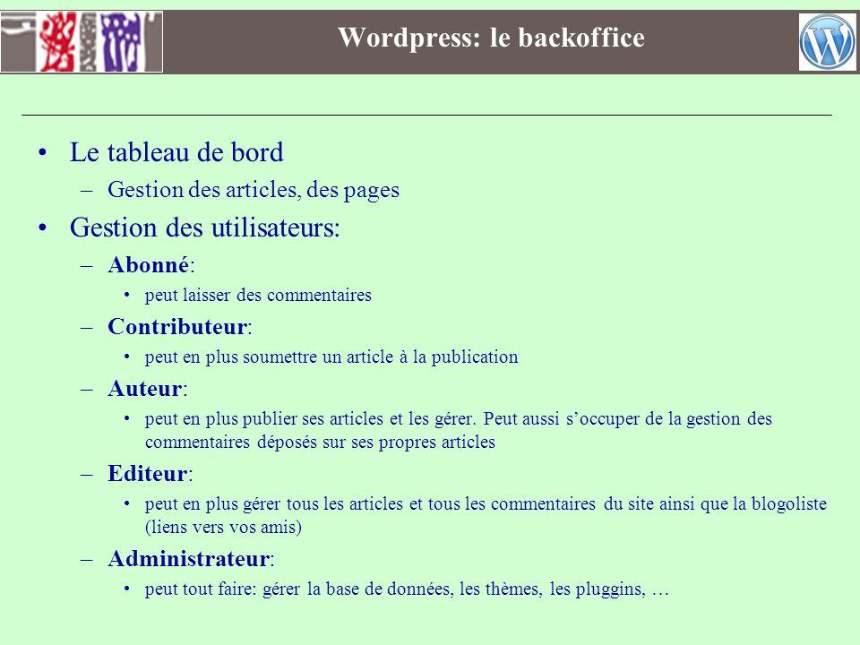 Wordpress: le backoffice Le tableau de bord –Gestion des articles, des pages Gestion des utilisateurs: –Abonné: peut laisser des commentaires –Contrib