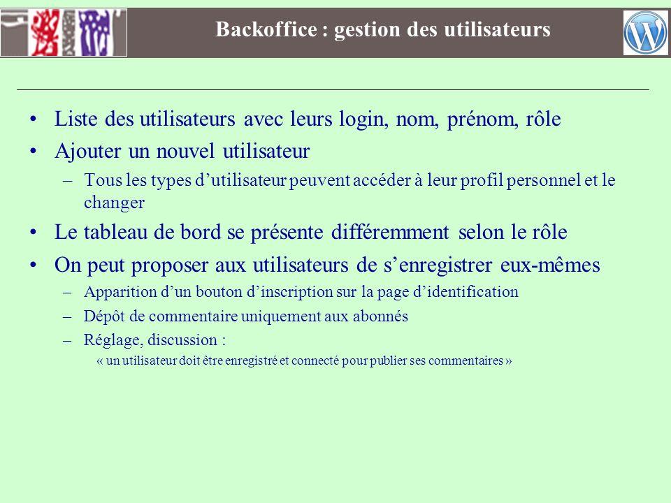 Backoffice : gestion des utilisateurs Liste des utilisateurs avec leurs login, nom, prénom, rôle Ajouter un nouvel utilisateur –Tous les types dutilis