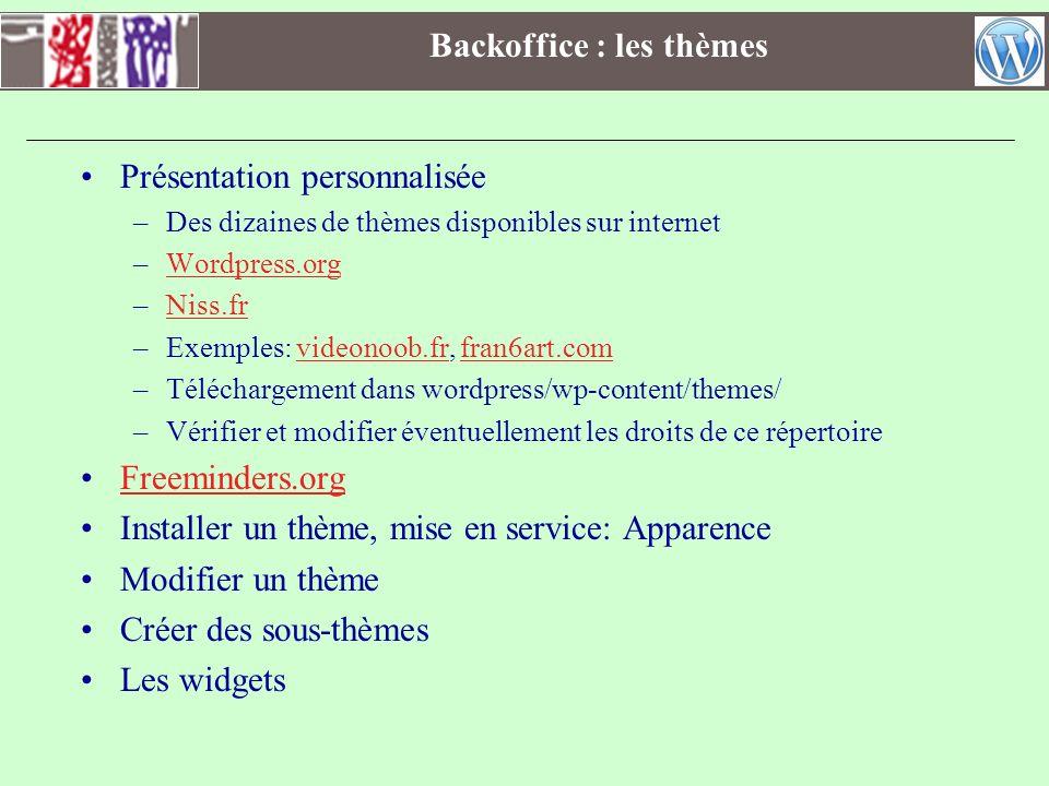 Backoffice : les thèmes Présentation personnalisée –Des dizaines de thèmes disponibles sur internet –Wordpress.orgWordpress.org –Niss.frNiss.fr –Exemp