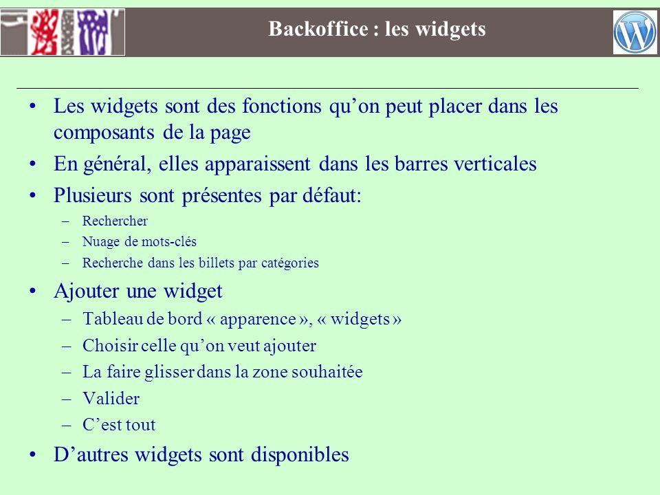 Backoffice : les widgets Les widgets sont des fonctions quon peut placer dans les composants de la page En général, elles apparaissent dans les barres