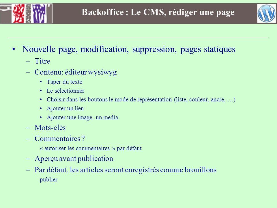 Backoffice : Le CMS, rédiger une page Nouvelle page, modification, suppression, pages statiques –Titre –Contenu: éditeur wysiwyg Taper du texte Le sél