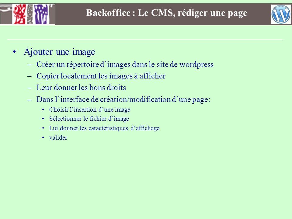 Backoffice : Le CMS, rédiger une page Ajouter une image –Créer un répertoire dimages dans le site de wordpress –Copier localement les images à affiche