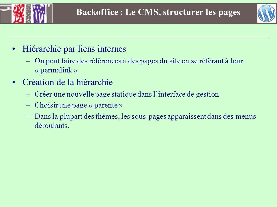 Backoffice : Le CMS, structurer les pages Hiérarchie par liens internes –On peut faire des références à des pages du site en se référant à leur « perm