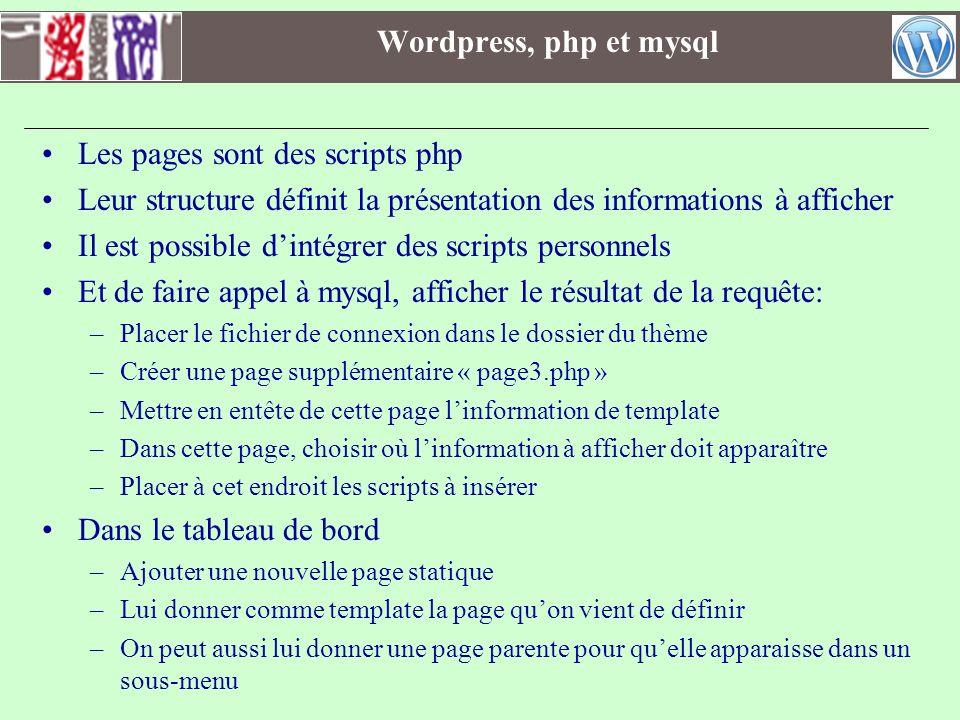 Wordpress, php et mysql Les pages sont des scripts php Leur structure définit la présentation des informations à afficher Il est possible dintégrer de