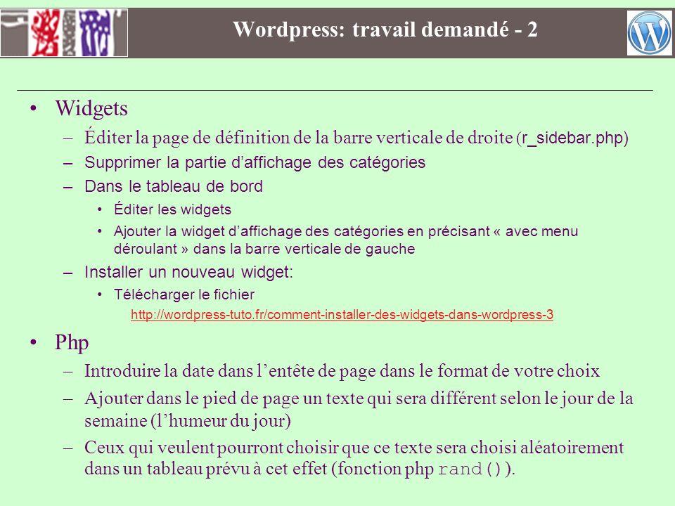 Wordpress: travail demandé - 2 Widgets –Éditer la page de définition de la barre verticale de droite ( r_sidebar.php) –Supprimer la partie daffichage