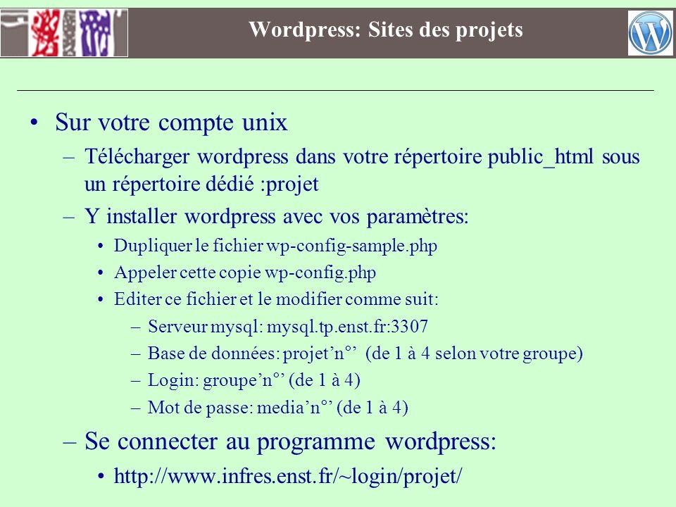 Wordpress: Sites des projets Sur votre compte unix –Télécharger wordpress dans votre répertoire public_html sous un répertoire dédié :projet –Y instal