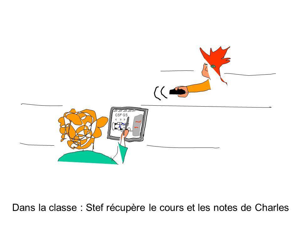 Dans la classe : Stef récupère le cours et les notes de Charles Xcsd CSF GS « » » » « » » » » ds xc