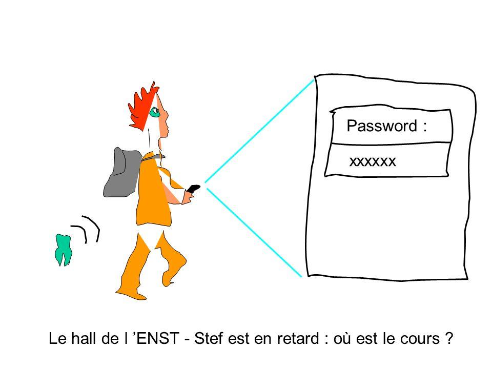 Le hall de l ENST - Stef est en retard : où est le cours ? Password : xxxxxx