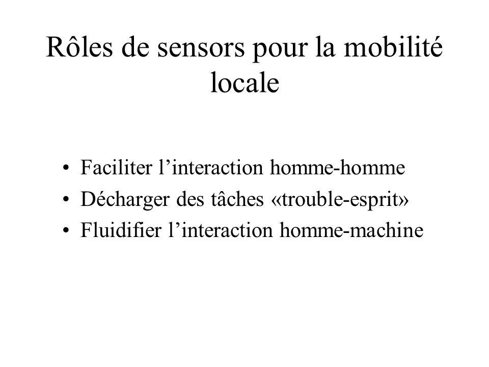 Rôles de sensors pour la mobilité locale Faciliter linteraction homme-homme Décharger des tâches «trouble-esprit» Fluidifier linteraction homme-machine