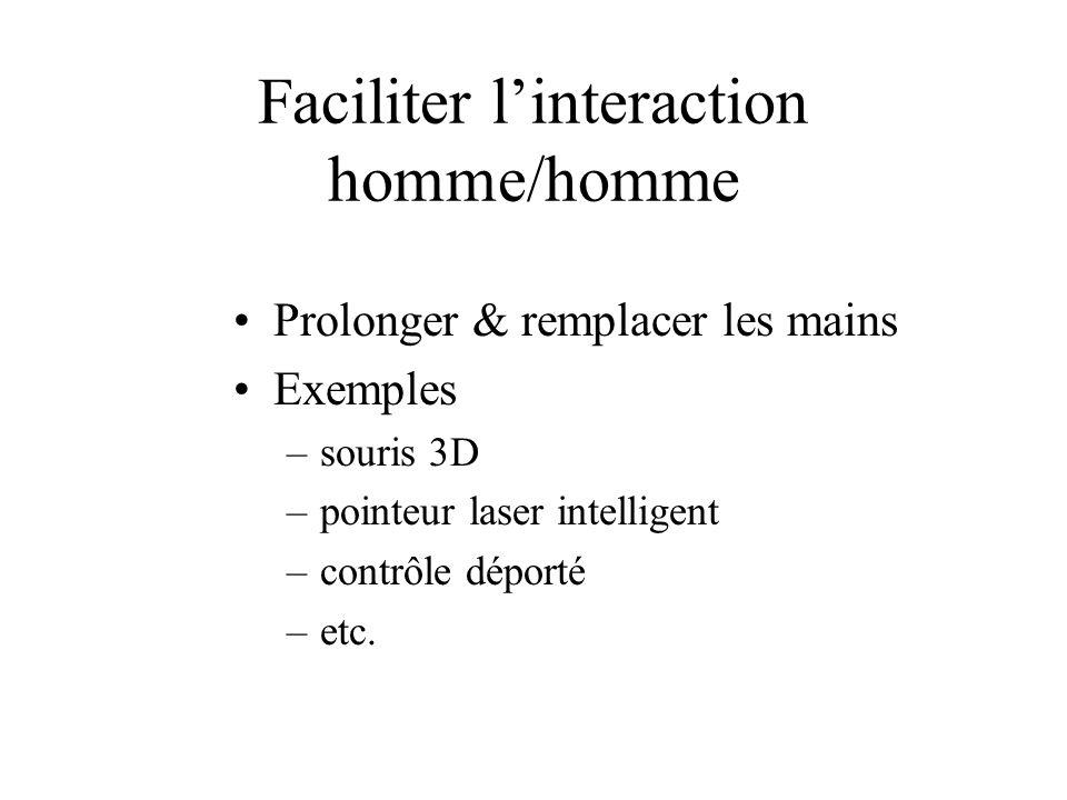 Faciliter linteraction homme/homme Prolonger & remplacer les mains Exemples –souris 3D –pointeur laser intelligent –contrôle déporté –etc.