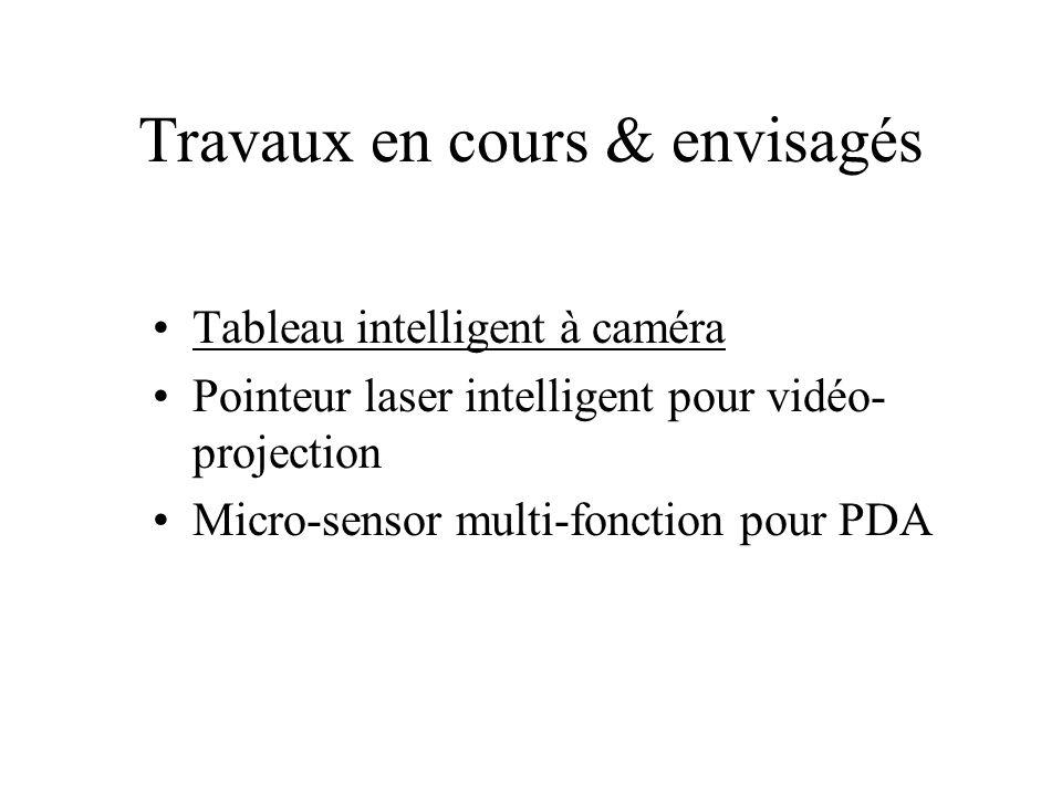 Travaux en cours & envisagés Tableau intelligent à caméra Pointeur laser intelligent pour vidéo- projection Micro-sensor multi-fonction pour PDA