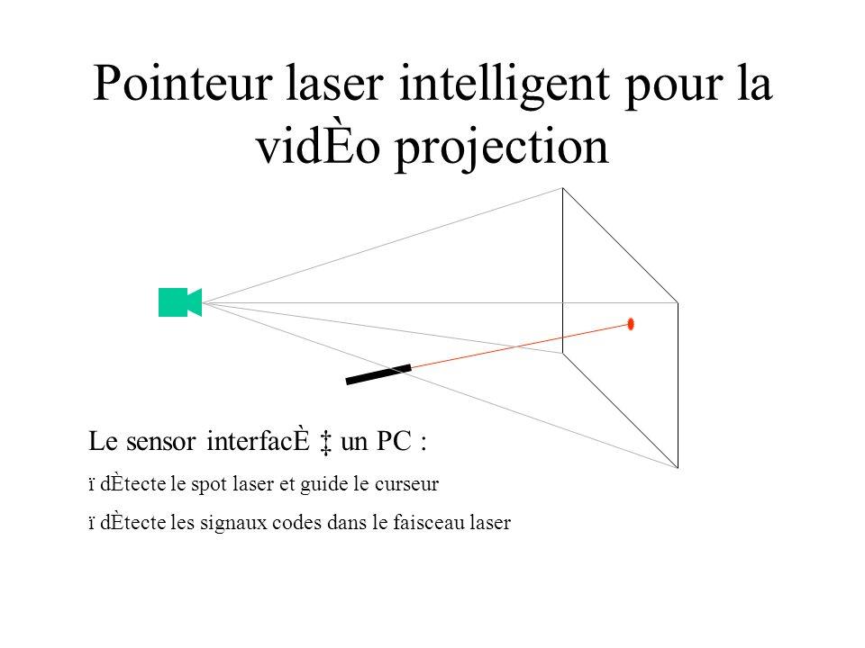 Pointeur laser intelligent pour la vidÈo projection Le sensor interfacÈ un PC : ï dÈtecte le spot laser et guide le curseur ï dÈtecte les signaux codes dans le faisceau laser