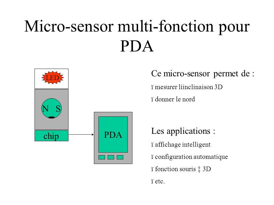 Micro-sensor multi-fonction pour PDA N S chip LED Ce micro-sensor permet de : ï mesurer líinclinaison 3D ï donner le nord Les applications : ï affichage intelligent ï configuration automatique ï fonction souris 3D ï etc.
