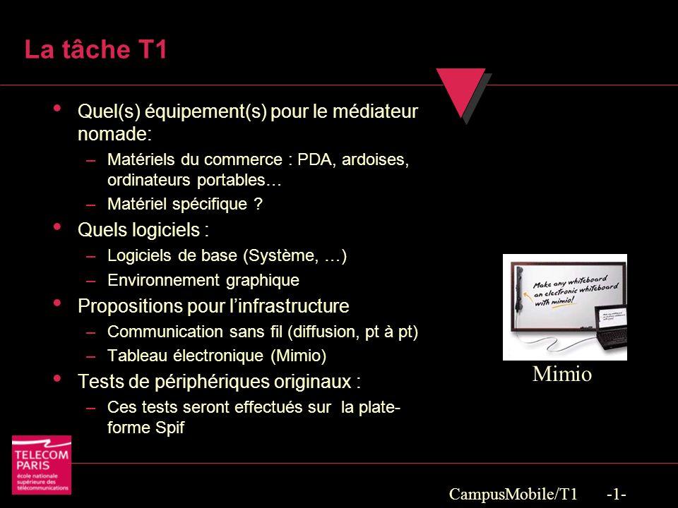 CampusMobile/T1 -1- La tâche T1 Quel(s) équipement(s) pour le médiateur nomade: –Matériels du commerce : PDA, ardoises, ordinateurs portables… –Matériel spécifique .