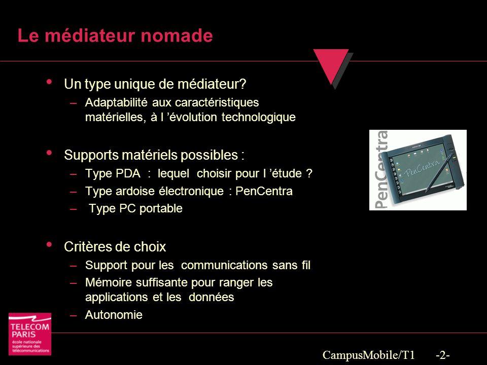 CampusMobile/T1 -2- Le médiateur nomade Un type unique de médiateur.