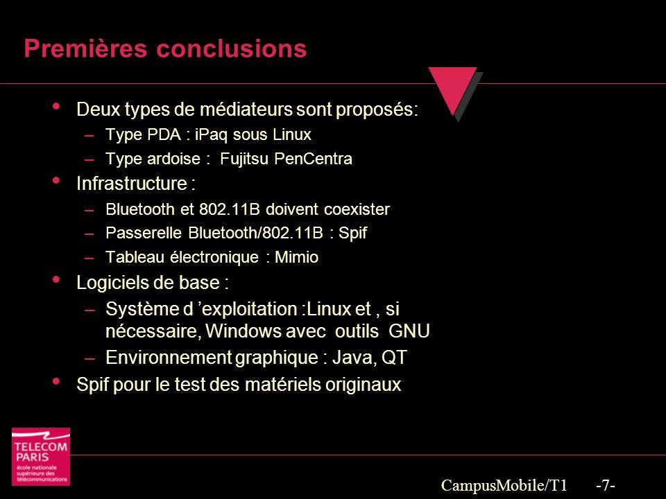 CampusMobile/T1 -7- Premières conclusions Deux types de médiateurs sont proposés: –Type PDA : iPaq sous Linux –Type ardoise : Fujitsu PenCentra Infrastructure : –Bluetooth et 802.11B doivent coexister –Passerelle Bluetooth/802.11B : Spif –Tableau électronique : Mimio Logiciels de base : –Système d exploitation :Linux et, si nécessaire, Windows avec outils GNU –Environnement graphique : Java, QT Spif pour le test des matériels originaux