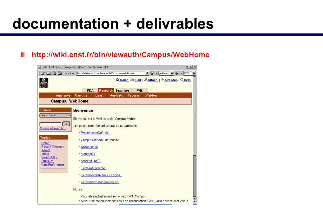 documentation + delivrables Documentation Rapport global annuel Rapports intermediaires par tache Outils collaboratifs Site TWiki de partage de docume