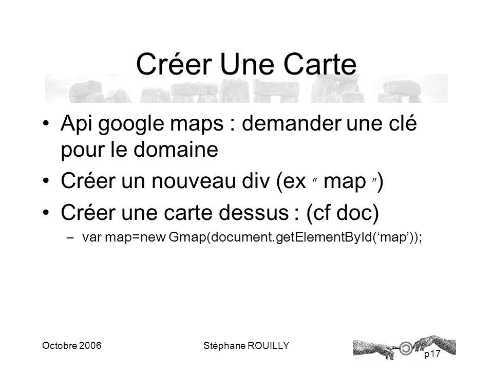 p17 Octobre 2006Stéphane ROUILLY Créer Une Carte Api google maps : demander une clé pour le domaine Créer un nouveau div (ex map ) Créer une carte dessus : (cf doc) –var map=new Gmap(document.getElementById(map));