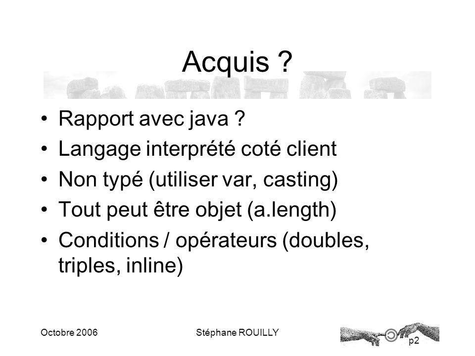 p2 Octobre 2006Stéphane ROUILLY Acquis . Rapport avec java .