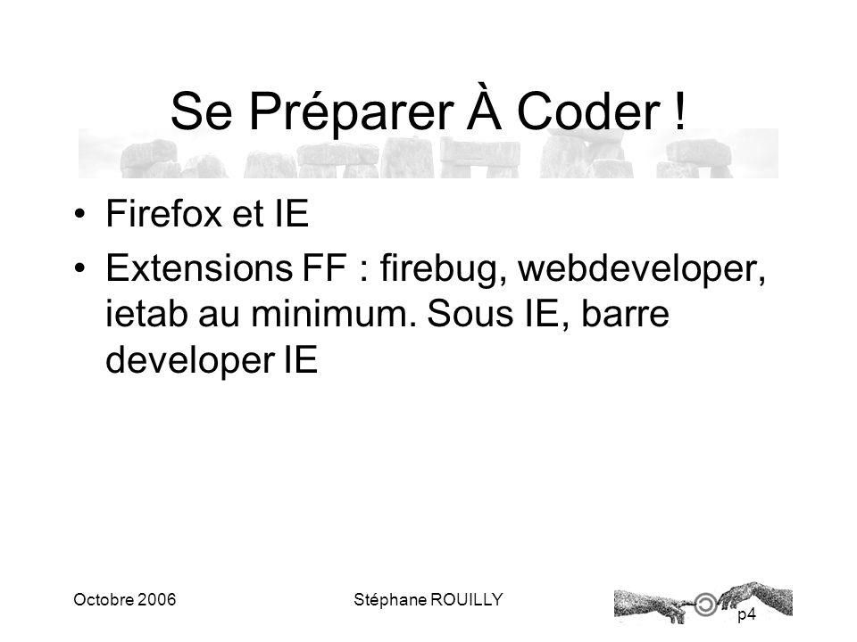 p4 Octobre 2006Stéphane ROUILLY Se Préparer À Coder .