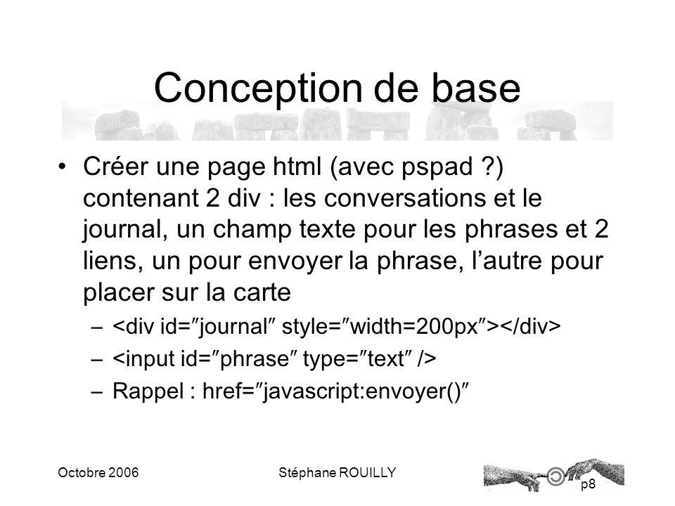 p8 Octobre 2006Stéphane ROUILLY Conception de base Créer une page html (avec pspad ?) contenant 2 div : les conversations et le journal, un champ texte pour les phrases et 2 liens, un pour envoyer la phrase, lautre pour placer sur la carte – – Rappel : href=javascript:envoyer()