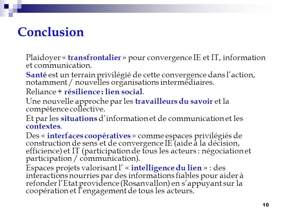 10 Conclusion Plaidoyer « transfrontalier » pour convergence IE et IT, information et communication. Santé est un terrain privilégié de cette converge