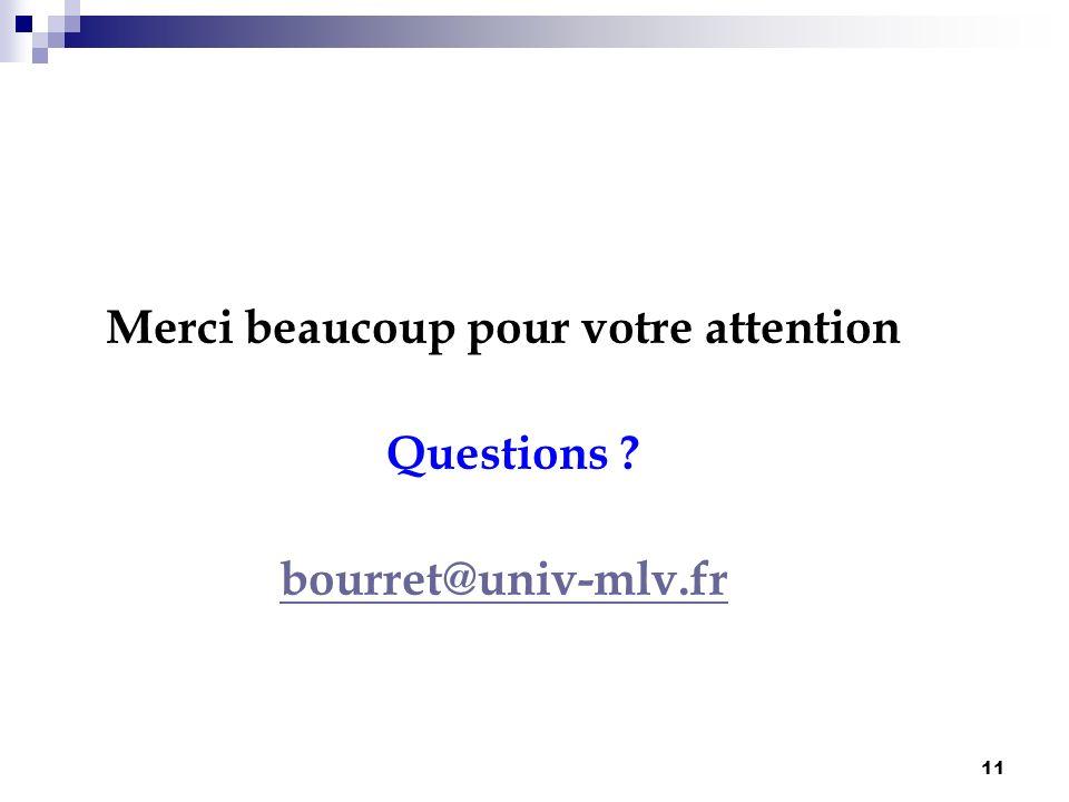 11 Merci beaucoup pour votre attention Questions ? bourret@univ-mlv.fr