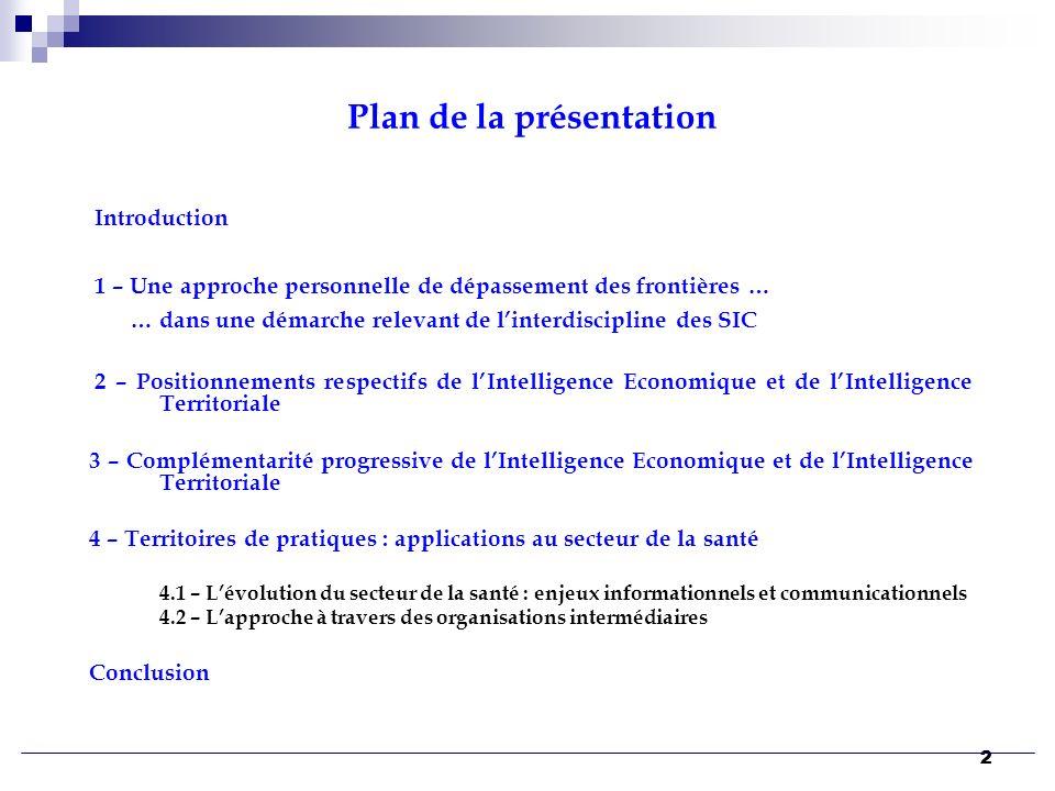 22 Plan de la présentation Introduction 1 – Une approche personnelle de dépassement des frontières … … dans une démarche relevant de linterdiscipline