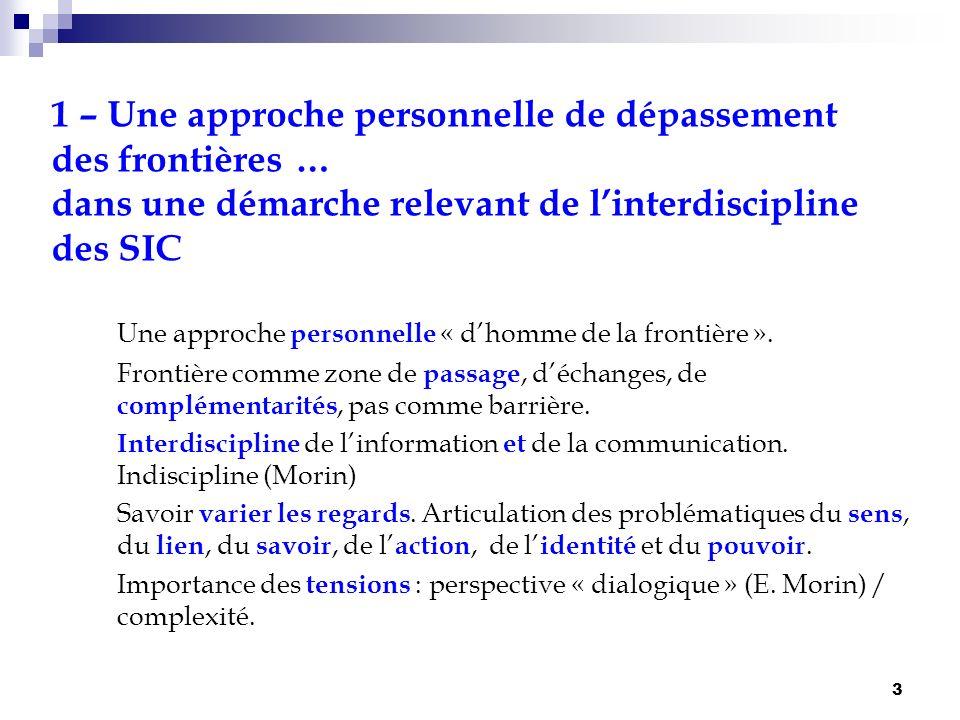 3 1 – Une approche personnelle de dépassement des frontières … dans une démarche relevant de linterdiscipline des SIC Une approche personnelle « dhomm