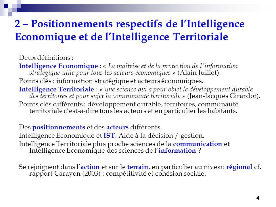 5 3 – Complémentarité progressive de lIntelligence Economique et de lIntelligence Territoriale Pas les mêmes regards, les mêmes objets, les mêmes acteurs, se rejoignent car elles ont souvent les mêmes terrains et, surtout, les mêmes objectifs cf.