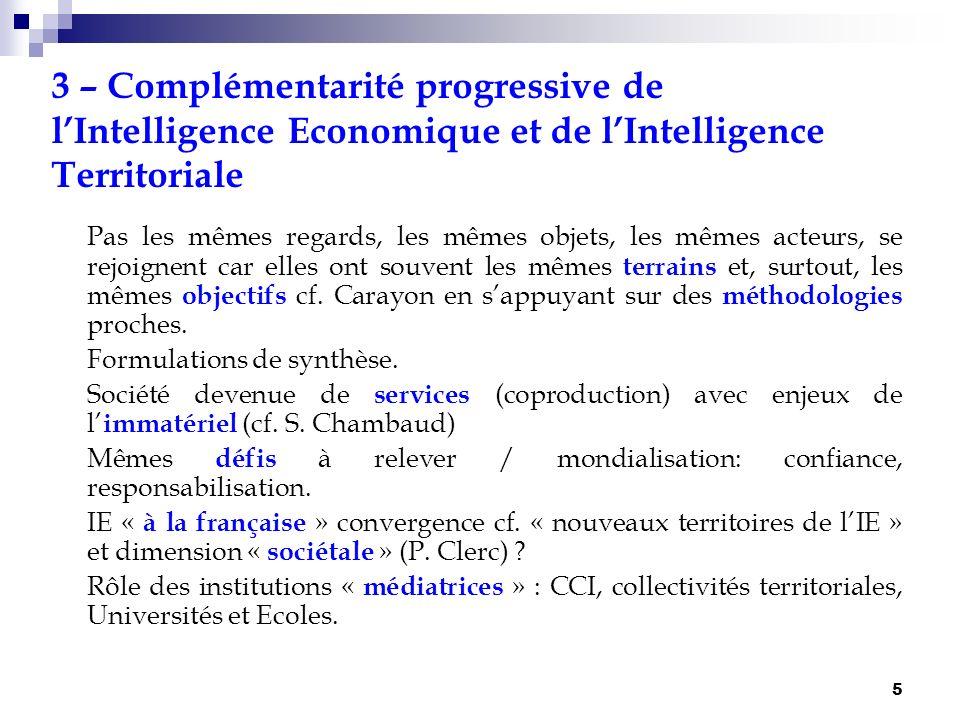 5 3 – Complémentarité progressive de lIntelligence Economique et de lIntelligence Territoriale Pas les mêmes regards, les mêmes objets, les mêmes acte
