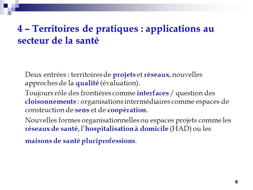 6 4 – Territoires de pratiques : applications au secteur de la santé Deux entrées : territoires de projets et réseaux, nouvelles approches de la quali
