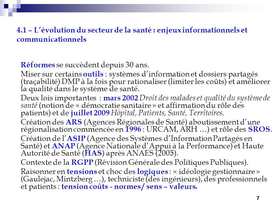 7 4.1 – Lévolution du secteur de la santé : enjeux informationnels et communicationnels Réformes se succèdent depuis 30 ans. Miser sur certains outils