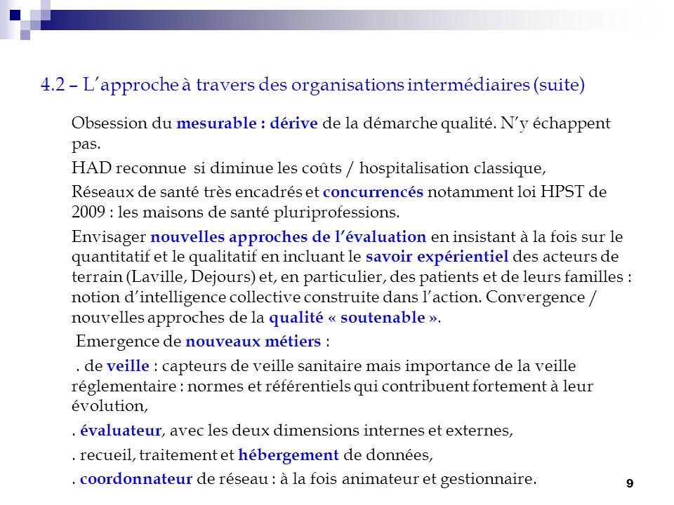 9 4.2 – Lapproche à travers des organisations intermédiaires (suite) Obsession du mesurable : dérive de la démarche qualité. Ny échappent pas. HAD rec