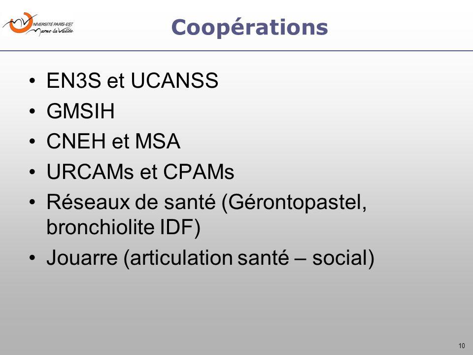 10 Coopérations EN3S et UCANSS GMSIH CNEH et MSA URCAMs et CPAMs Réseaux de santé (Gérontopastel, bronchiolite IDF) Jouarre (articulation santé – soci