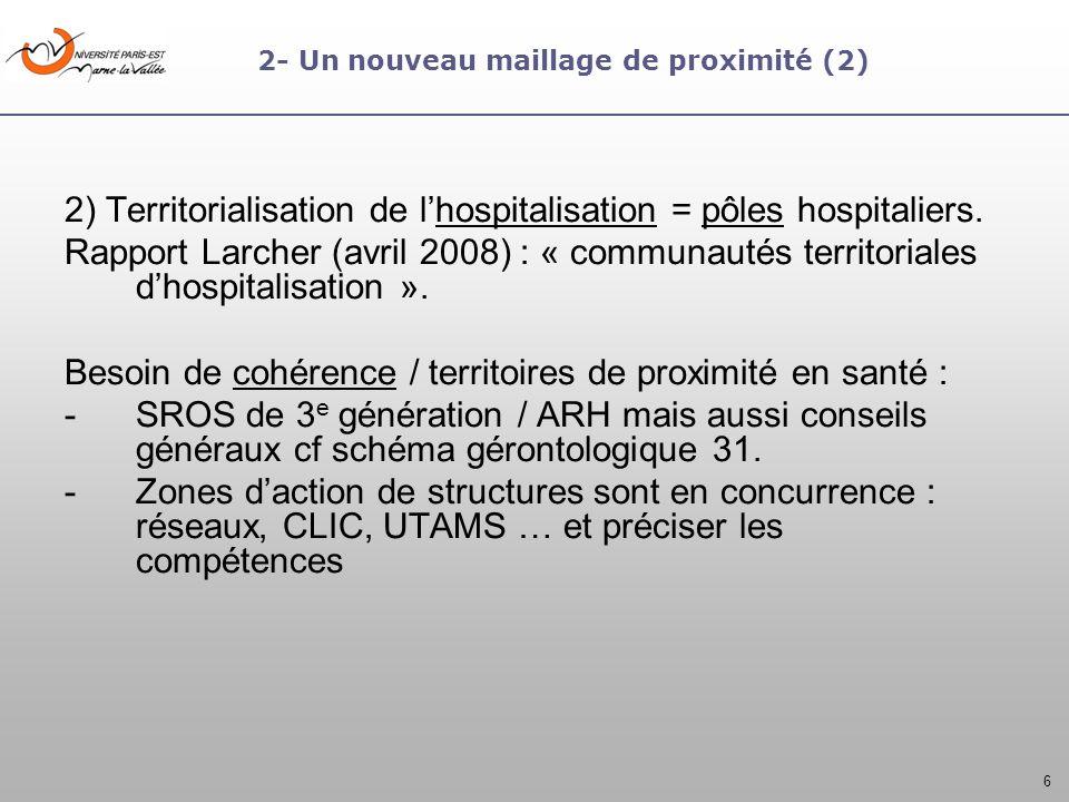 6 2- Un nouveau maillage de proximité (2) 2) Territorialisation de lhospitalisation = pôles hospitaliers. Rapport Larcher (avril 2008) : « communautés